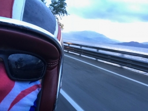 Riding alongside Lake Maggiore, Italy